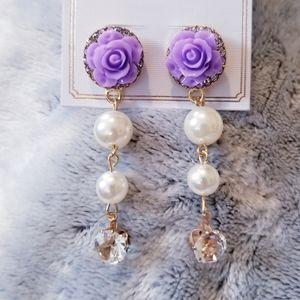 3 for $15 Lavender Rose Dangle Earrings